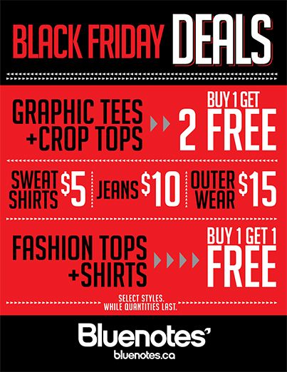 Bluenotes Shop at Bluenotes for their great Black Friday specials!
