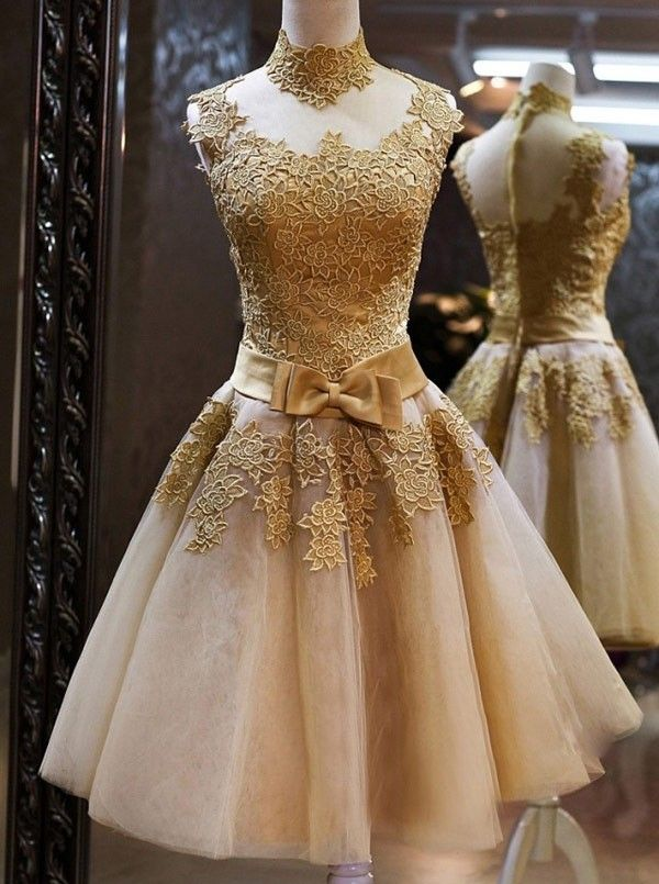 Simple Dress Elegant High Neck Gold Applique Ribbon Tulle Short Prom Dresses/Homecoming Dresses/Party Dresses  TUPD-7022