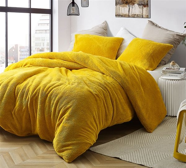 Unique Bright Yellow Shade Oversized Queen Duvet Cover With Super Soft Luxury Plush Materials Twin Xl Duvet Covers Duvet Covers Single Duvet Cover