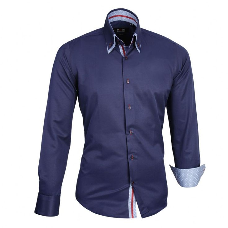Shop online from our beautifully tailored Farrabi shirts. Button down – Polka Under Collar Slim Fit Formal Double collar dress shirt Navy/Blue. Check out other polka shirts!