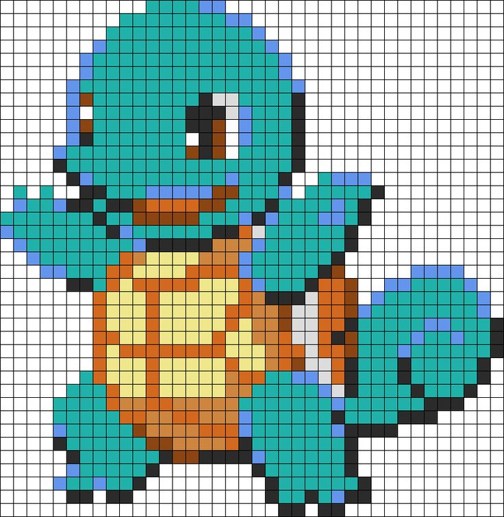 Squirtle Perler Bead Pattern | Bead Sprites | Characters Fuse Bead Patterns