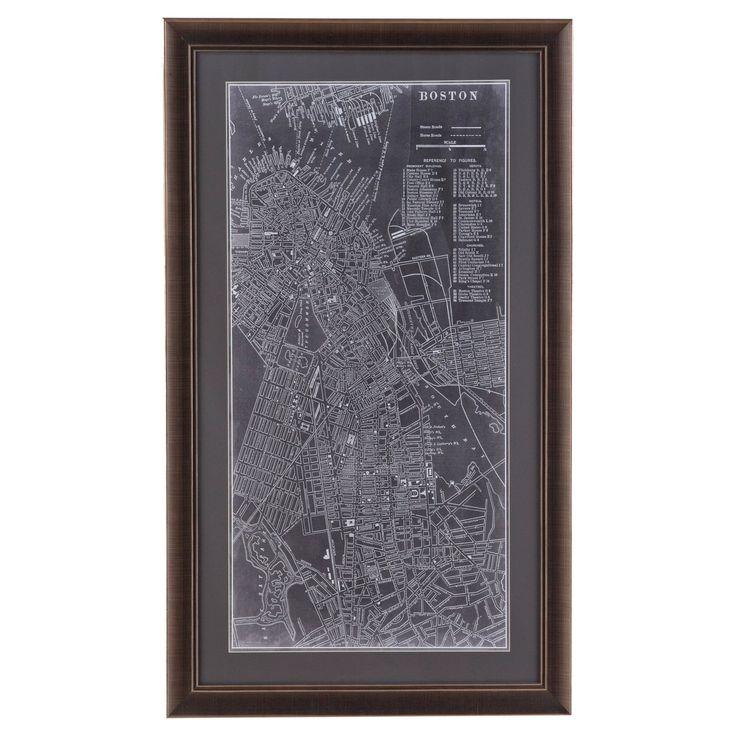 Bassett Mirror Graphic Map of Boston Wall Art - 9900-487BEC