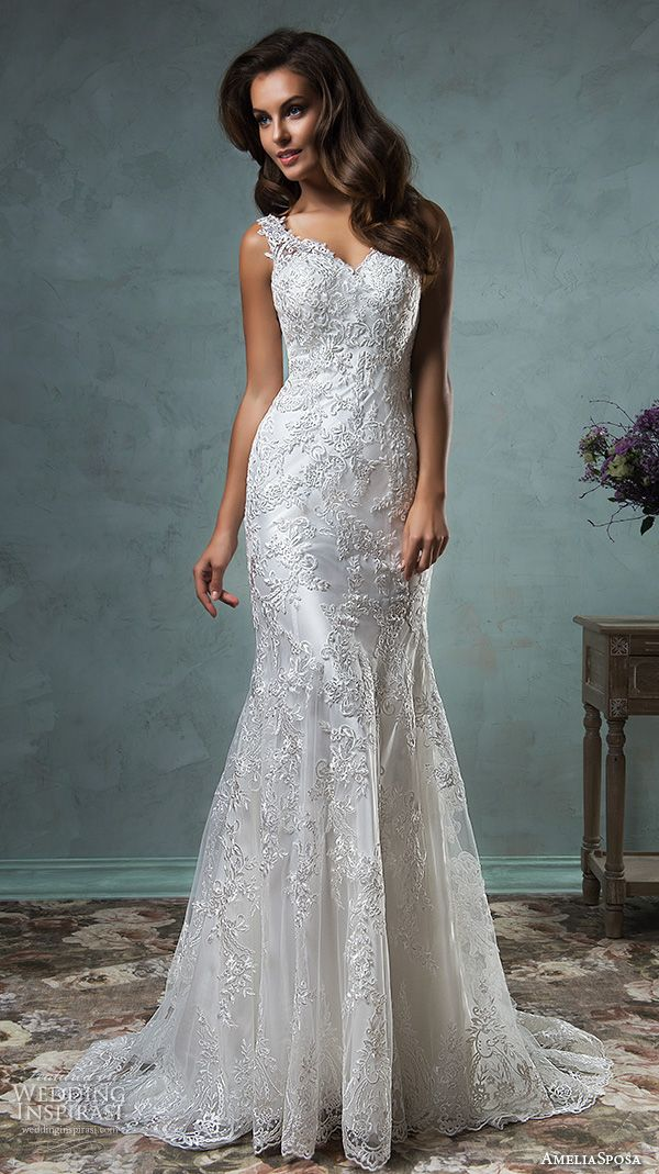 amelia sposa 2016 wedding dresses lace strap v neckline embroidery satin beautiful trumpet fit to flare mermaid wedding dress adelina #mermaidweddingdress #2016weddingdresses