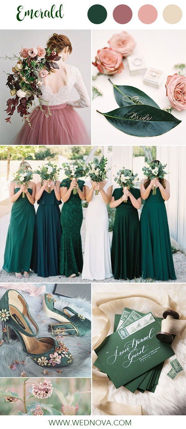 14 Best Emerald Wedding Color Palette Ideas To Swoon Over Emerald Bridesmaid Dresses Pink Wedding Colors Wedding Color Schemes Winter