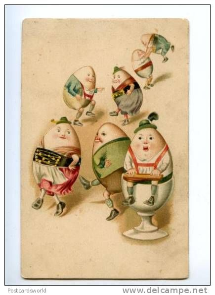 170090 Russia EASTER Dance of Dressed EGGS vintage LITHO PC