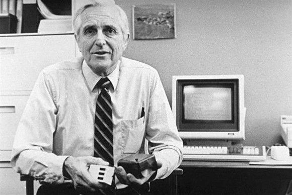 FIRST MOUSE: Douglas Engelbart holds the invention that computer users across the globe rely on every day to communicate with their PC [Image credit: Douglas Engelbart]