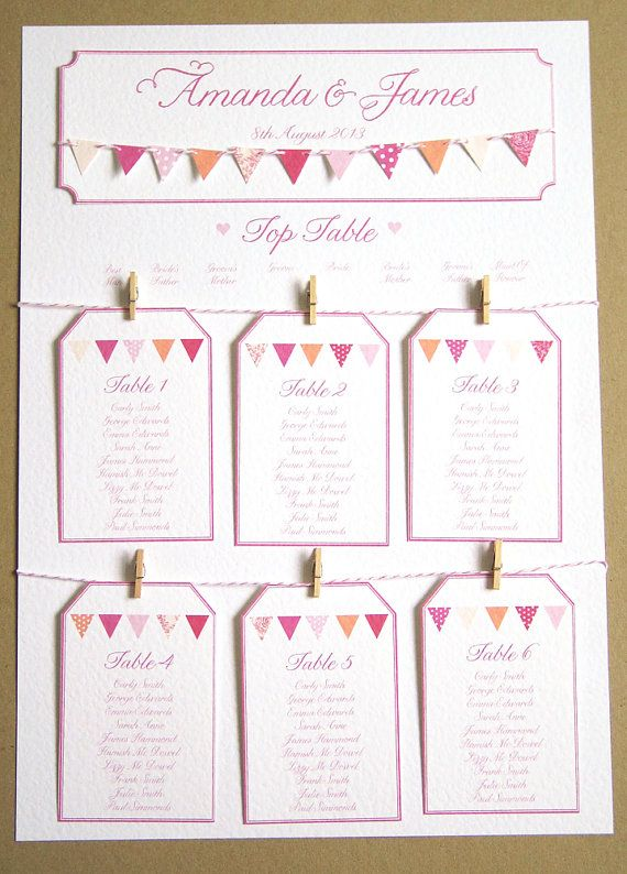 Pink Bunting Wedding Table Plan A2 by STNstationery on Etsy, £45.00