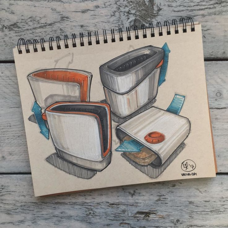//99. When studying design sketching at @idetudelft  we studied basic forms by sketching toasters and vacuum cleaners. I had a go at some toasters yesterday for old time's sake. I still see room for improvement (for example in the material definition) but it was nice to go think about the good ol' toaster again!