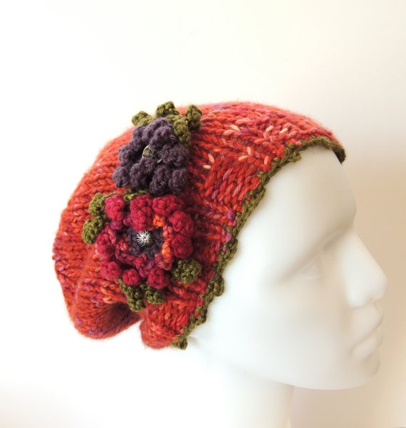 Joy Slouch Hat, Hand knit hat,  Hand Painted Merino Wool, Orange, Pink, Purple and green accents, Hand knit Hat