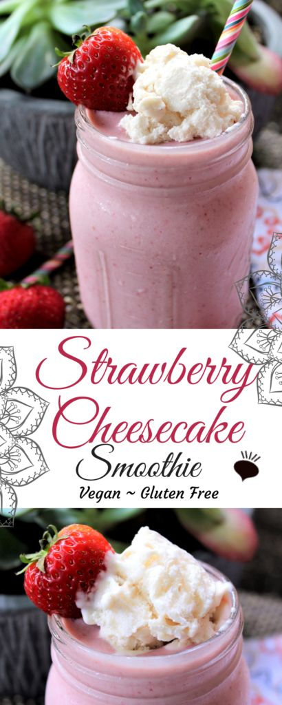 This vegan gluten free strawberry cheesecake smoothie sounds too delicious to be healthy, but it is! Drink dessert for breakfast with this healthy smoothie! You can drink a healthy smoothie that tastes like cheesecake. thehiddenveggies.com