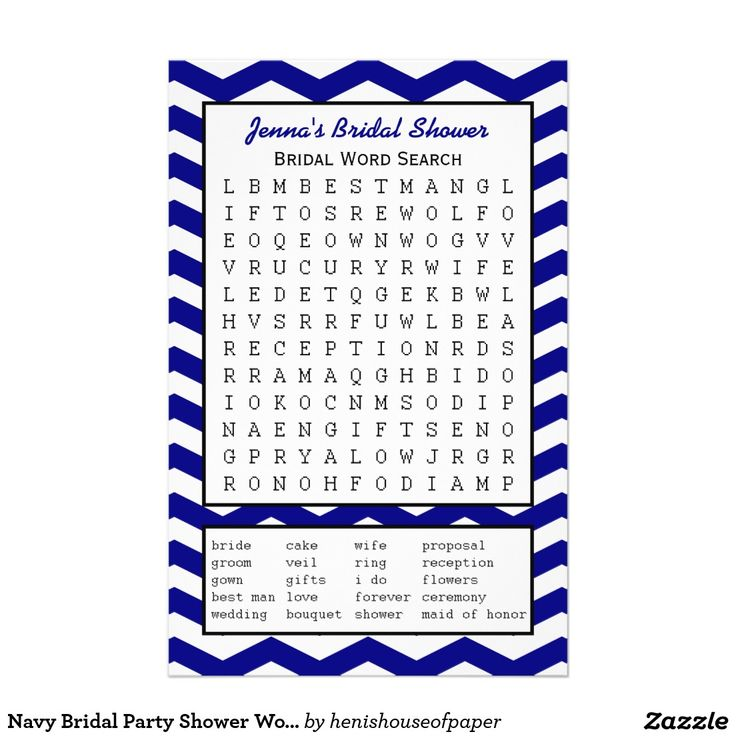 Navy Bridal Party Shower Word Search Game
