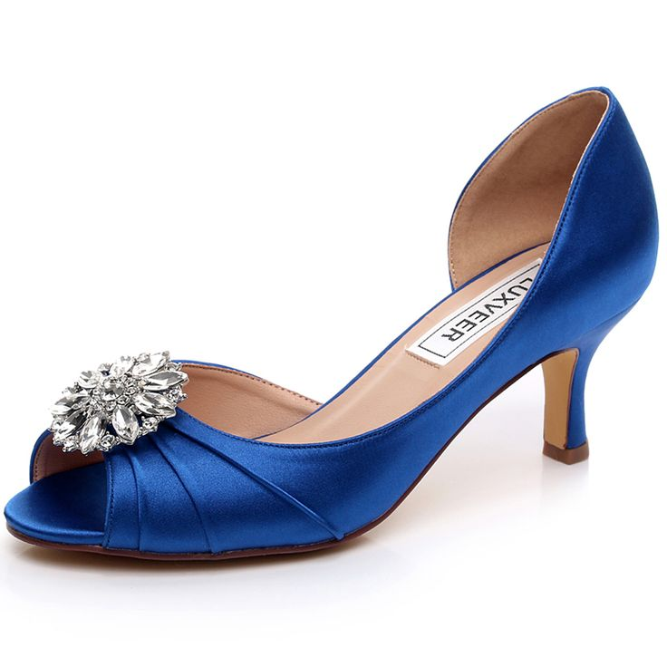 Purple satin concealed platform peep toe wedding shoes with large brooch gV6Wa