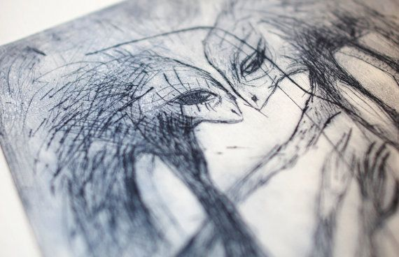Frozen love drypoint etching blue wall art print by BeMyNightbird