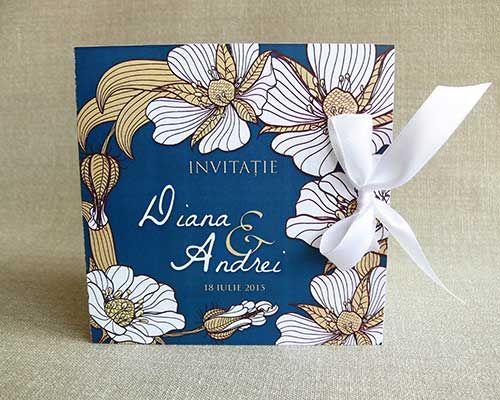 Floral vintage flowers wedding invitation Box - Invitatie de Nunta in cutie - Irene