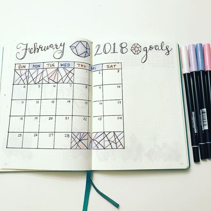 My February setup continues with my monthly which features a more traditional setup. I still continued using gems and geometric designs which I absolutely love! 1.29.28// #bulletjournal #bulletjournaling #bulletjournaladdict #bulletjournallove #bujo #bujomonthly #bujoinspire #leuchtturm1917 #tombow