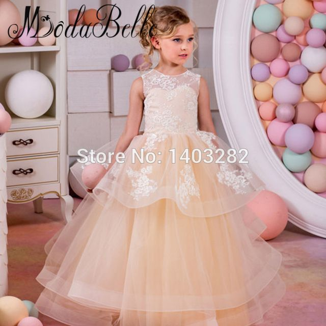 Puffy Champagne Flower Girls Dresses For Princess Lace Evening Gown Kids Baby Girls Pageant Prom Dresses Ball Gowns For Girls