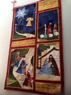 """Road to Bethlehem"" by Quiltlove. Christmas nativity wall hanging."