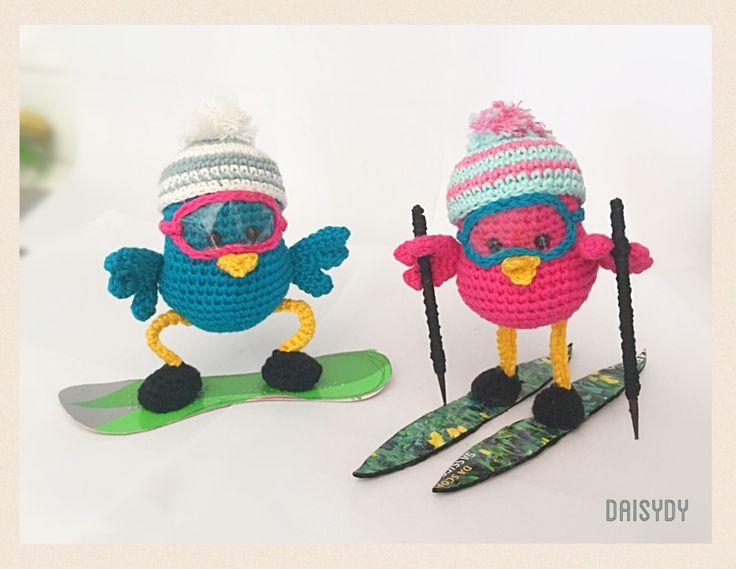 SnowBirder & SkiBirder    #birdcrochet #birdamigurumi Designed by Daisydy