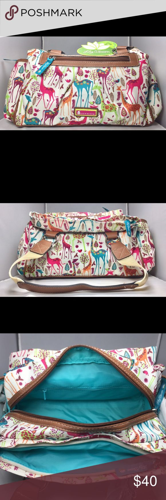 BNWT Lily Bloom Handbag Colorful Giraffe-ic Park purse has many zippered pocket sections. Very spacious and goes great with any outfit. lily bloom Bags Shoulder Bags