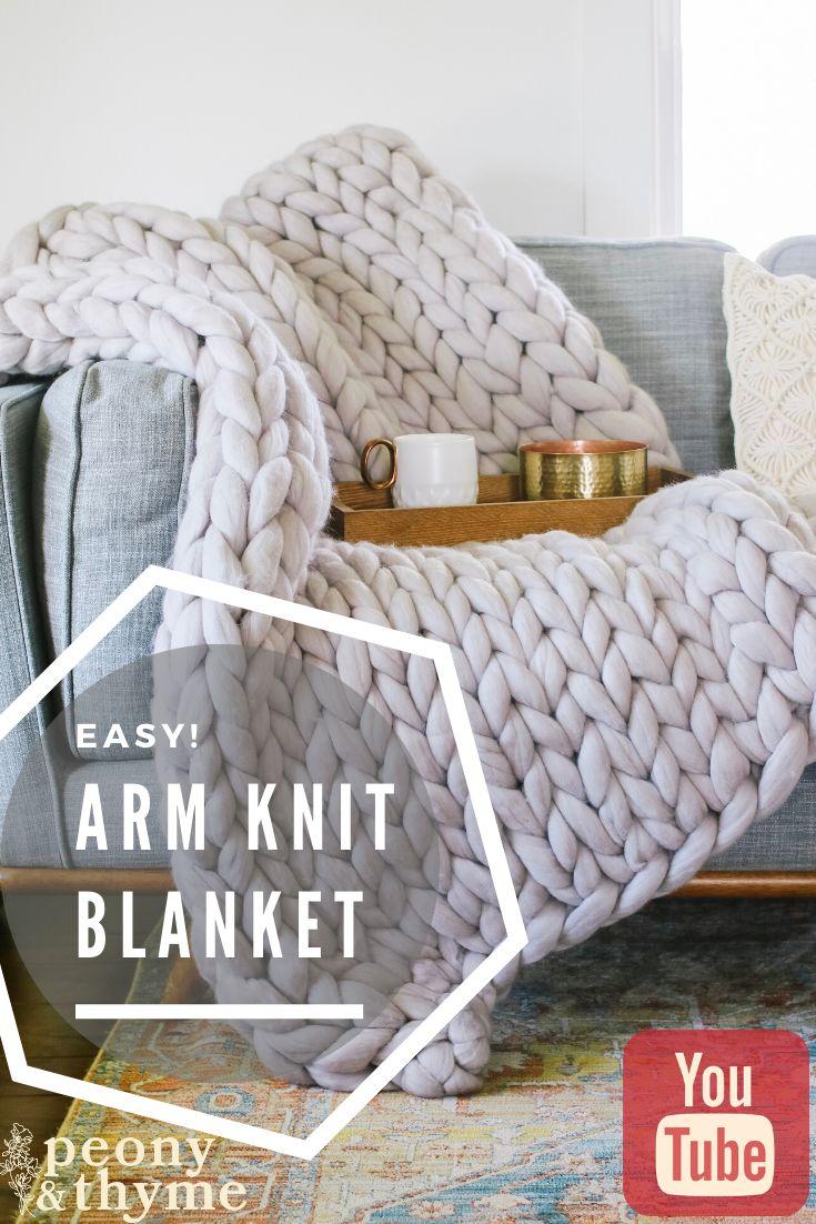 Easy arm knit blanket arm knitting blanket blanket