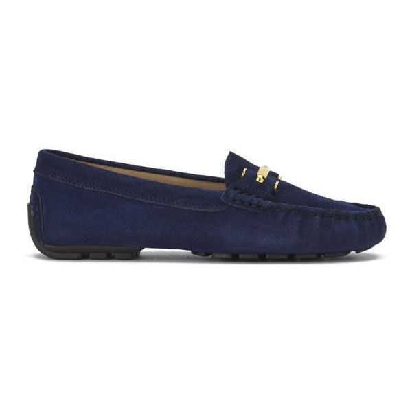 Lauren Ralph Lauren Women's Caliana Suede Moccasin Shoes (155 CAD) ❤ liked on Polyvore featuring shoes, loafers, flats, navy, loafers & moccasins, round toe flats, navy blue loafers, navy shoes and navy suede moccasins