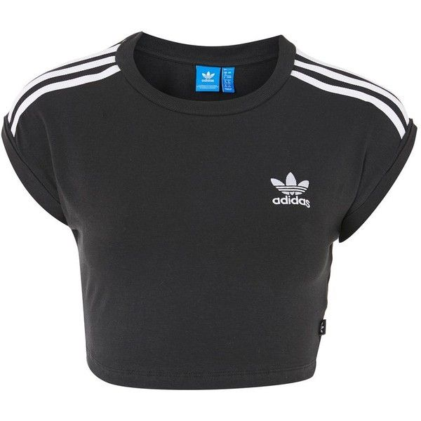 3 Stripe Crop Top by Adidas Originals ($32) ❤ liked on Polyvore featuring tops, black, adidas top, adidas, short sleeve tops, stripe top and crop top