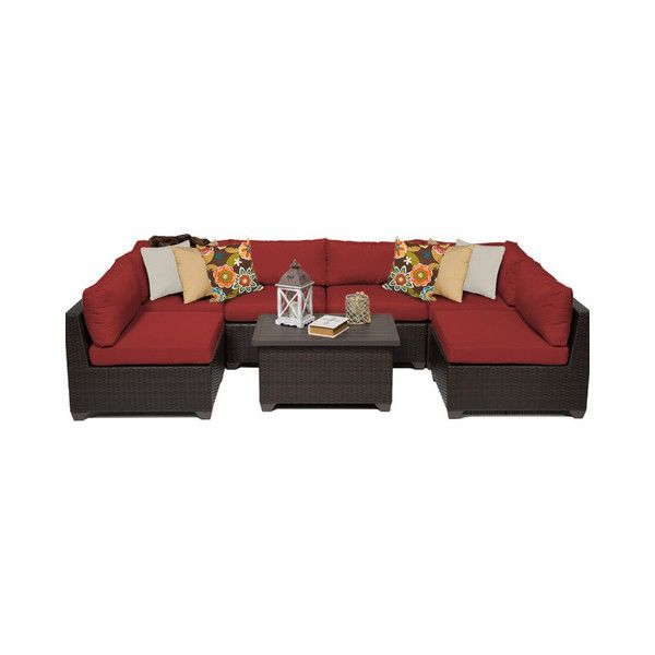 Premier 7-Piece Wicker Outdoor Patio Furniture, Red - Tropical -... ❤ liked on Polyvore featuring home, outdoors, patio furniture, outdoor loungers & day beds, outdoor wicker patio furniture, outdoor furniture, outdoors patio furniture, red patio furniture and outdoor lounge set