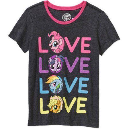 Girls' Hasbro My Little Pony Love Short Sleeve Crew Neck Graphic T-Shirt, Size: Medium, Black