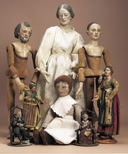 wooden creche figures and early doll