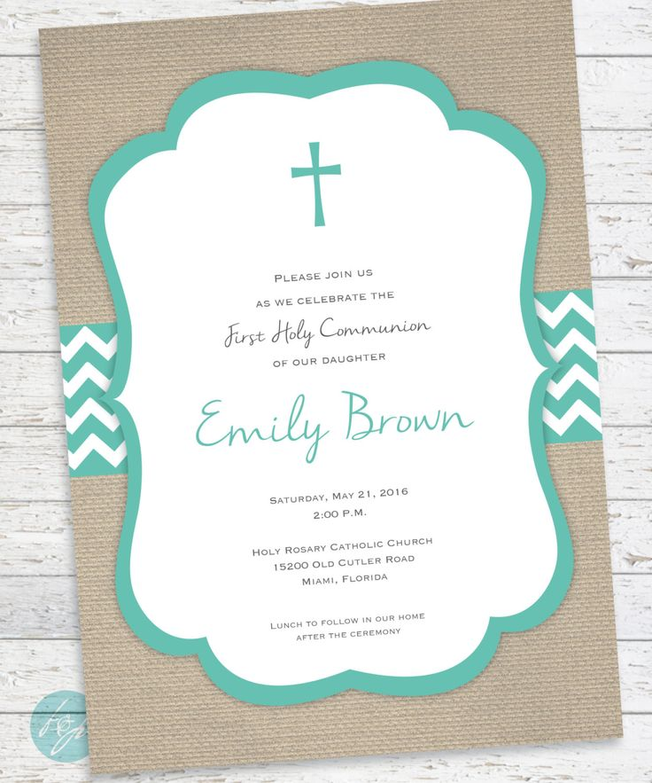 First Communion Invitation - Holy Communion  - Baptism - Confirmation - First Eucharist - Burlap Invitation PRINTABLE FILE by FlairandPaper on Etsy