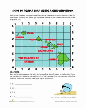 Map Grid Social studies worksheets, Geography lessons