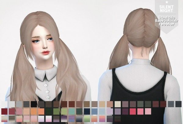 Silent Night: Stealthic BabyDoll Hairstyle recolor • Sims 4 Downloads