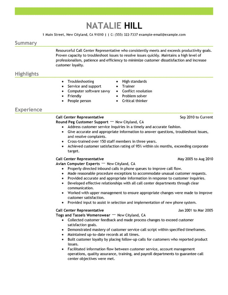 27 best Resume Cv Examples images on Pinterest Curriculum - call center representative resume