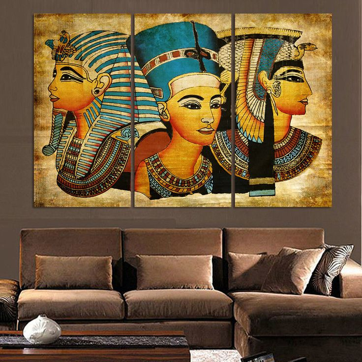 3 Pieces Pharaoh Of Ancient Egypt Unique Hd Printed Picture Canvas Poster