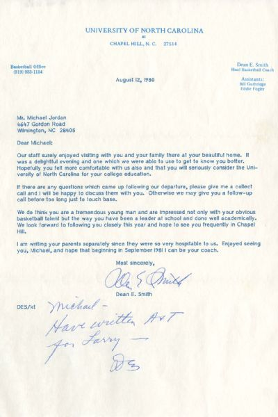 UNC Recruitment letter to Michael Jordan from Coach Dean Smith