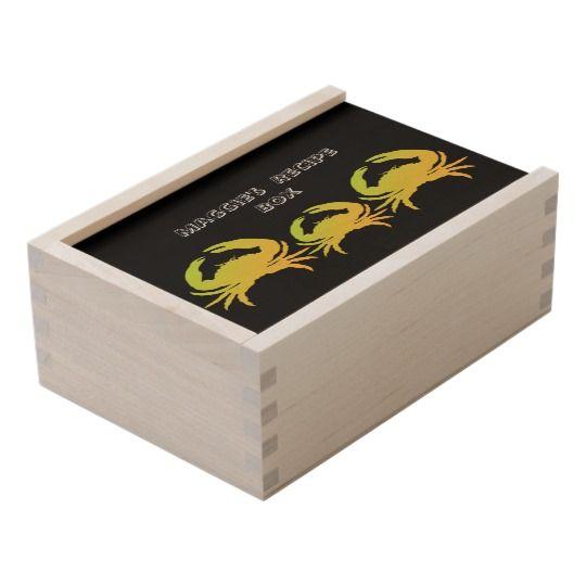 Monogram-Recipe-Keepsake-Box-Name-Crab's-Template Wooden Keepsake Box