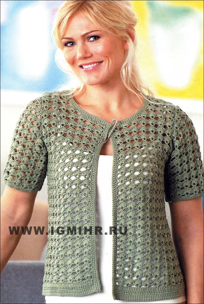 Openwork khaki jacket from Finnish designers.Translatable pattern