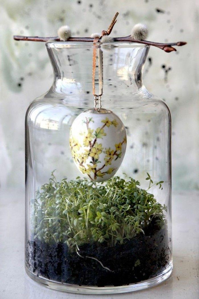 idee deco paques geniale oeuf joliment colore dans un pot en verre