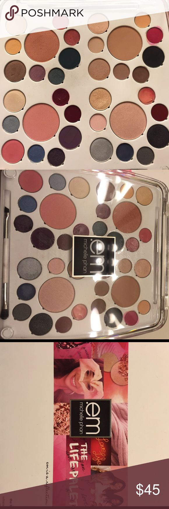 Michelle Pham Life Palette em life palette. Still has box a few colors tested but most are new and in great condition. It comes with an extra on the go smaller palette to make your own palette to go on a vacation or weekend getaway. Very versatile and great to have. Accessories