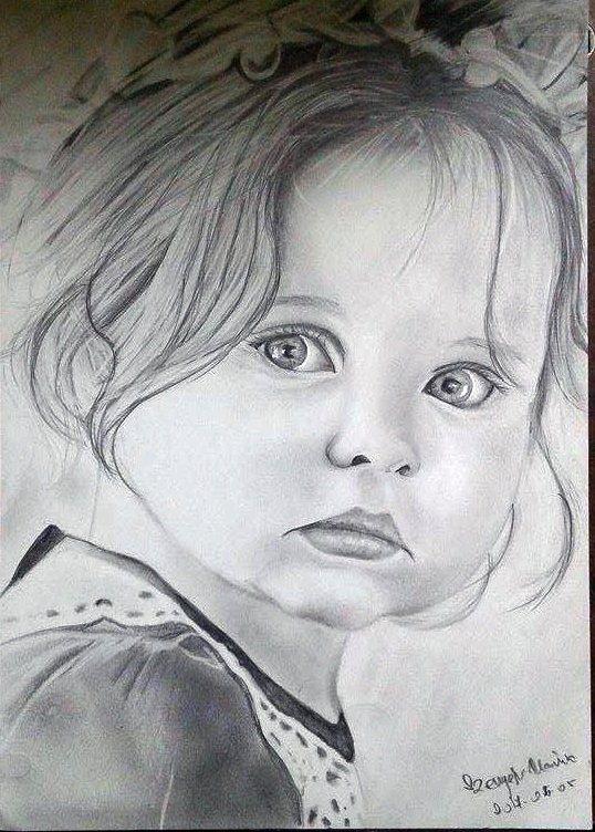 Kislány portré - Szenyéri Mária rajza