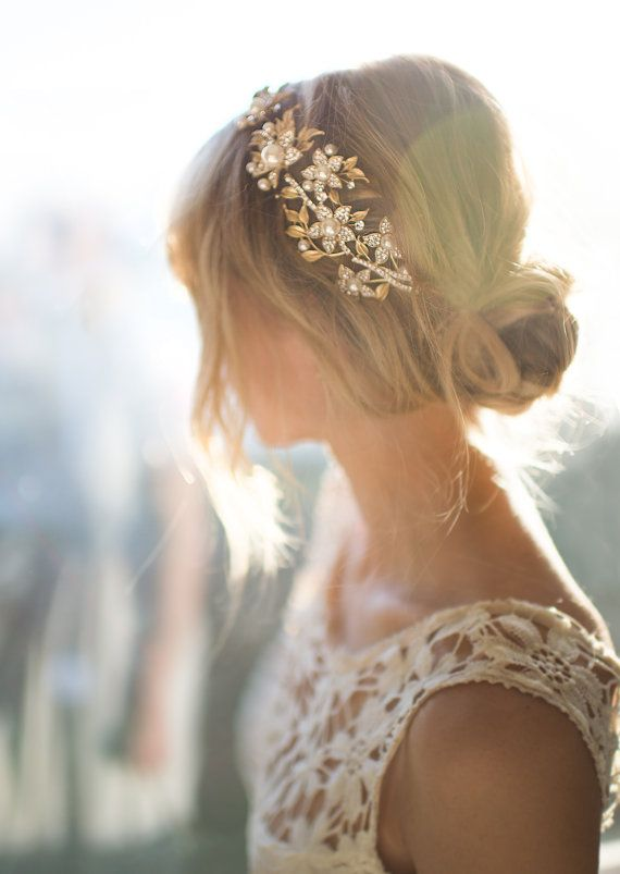 Boho Gold Hair Halo Vine Flower Crown Grecian Wreath Pearl Headband Wedding
