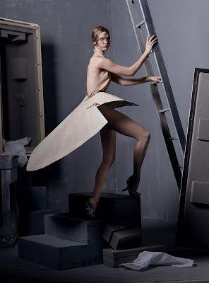 Alexander McQueen - Spring Summer 1999 - Wood fan skirt on Vogue Usa 2011