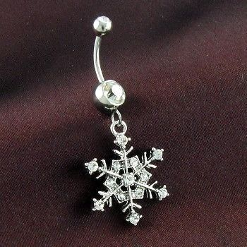 Snowflake Belly Ring Let it Snow! Get glamorous this winter season with this stunning snowflake dangle belly ring. A stainless steel prong-set belly ring featuring a gem accented snowflake charm. Spec