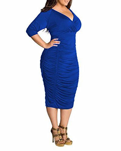 British Women Plus Size Deep V neck Draped Bodycon Midi Dress UK #British #UK #PlusSize #FashionBug #Dress