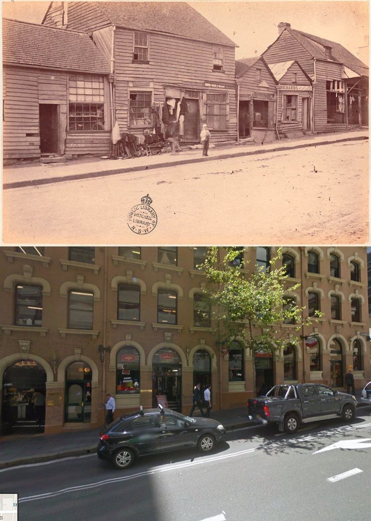Market St, Sydney just west of Clarence St 1875>2014 [1875-State Library NSW>2014-Google Street View. By Phil Harvey]