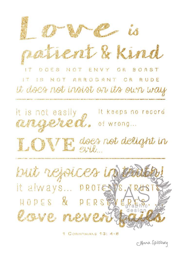 "Glitter Gold- 1 Corinthians 13: 4-8 ""Love Never Fails"" PRINTABLE ART, Downloadable Art, Instant Download, Wedding Bible Verse by AnnaSpilsburyDesign on Etsy https://www.etsy.com/au/listing/484489281/glitter-gold-1-corinthians-13-4-8-love"