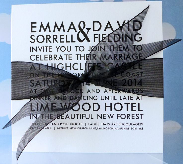 Classic black and white looks great with this super contemporary Brompton invitation www.heathermarten.co.uk