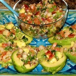 Jose's Shrimp Cerviche, using this recipe for cinco de mayo...  with a few tweaks and homemade tortillas! BTW cooking the shrimp in the lemon/lime juice makes this dish - never use precooked shrimp...NEVER!