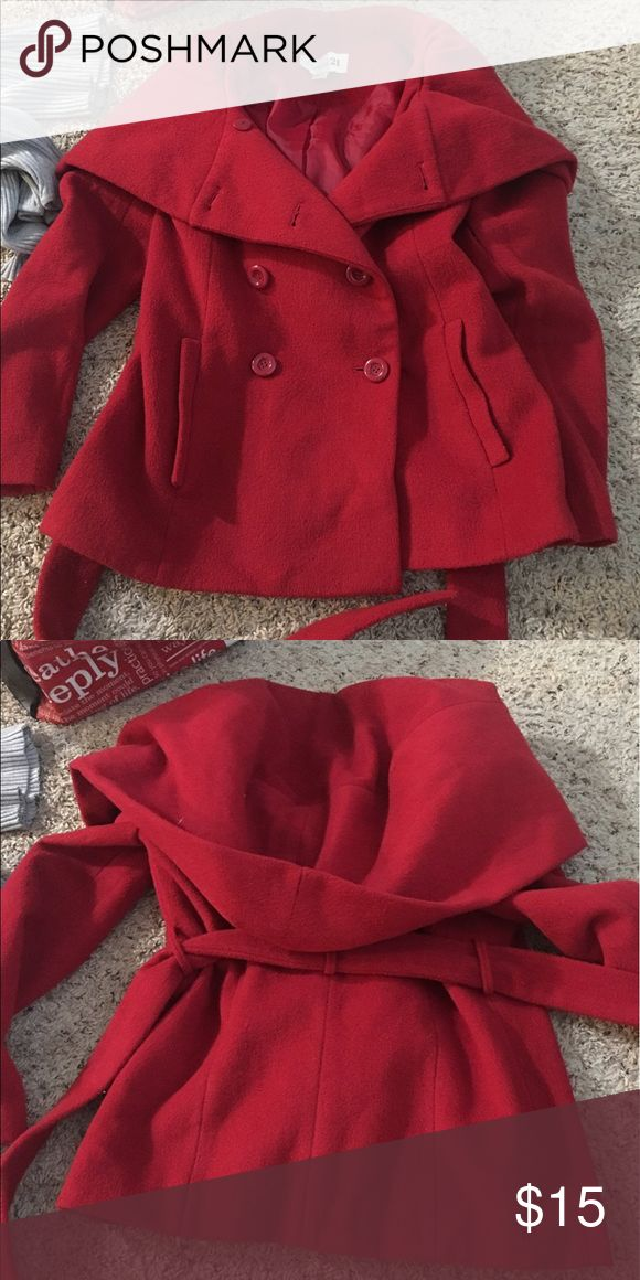 Red Pea Coat with a hood Red Pea Coat from forever 21 Forever 21 Jackets & Coats Pea Coats