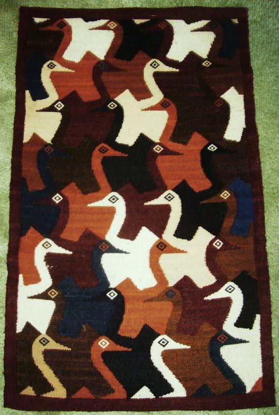 Vintage 1960s Southwestern Wool Pictorial Rug/Wall Hanging -- Loons -- via Etsy.